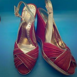BCBG Paris Red/Gold Wedge/Heel Peep Toe Size 8